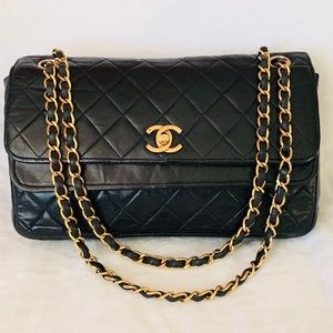 CHANEL 24k Gold Lambskin Quilted Double Flap Bag